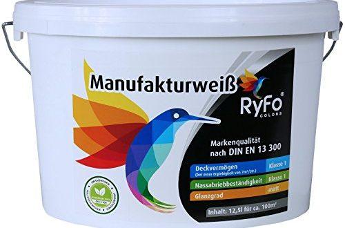 51MvAr+QYcL 500x330 - RyFo Colors Manufakturweiß 12,5l (Größe wählbar) - unsere beste Profi Wandfarbe, sehr ergiebige zertifizierte Innen-Dispersion, Innenfarbe weiß, hoher Weißgrad, Deckkraft Klasse 1, Nassabrieb Klasse 1