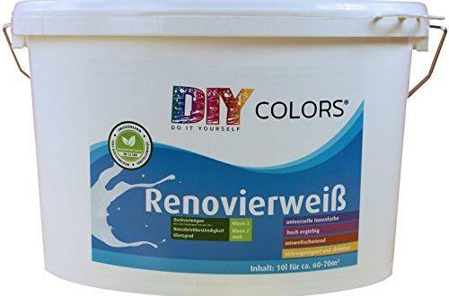 DIY Colors Renovierweiß 10l (Größe wählbar) - trendige Innenfarbe, Dispersion, Dispersionsfarbe, weiß, Wandfarbe, geruchsarm, lösemittelfrei, Nassabrieb und Deckkraft Klasse 2 - Do It Yourself